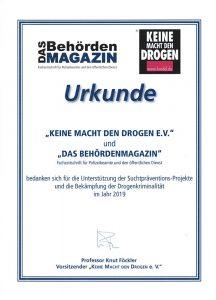 Keine Macht den Drogen e.V. und das Behördenmagazin bedanken sich für die Unterstützung der Suchtpräventions-Projekte und die Bekämpfung der Drogenkriminalität im Jahr 2019